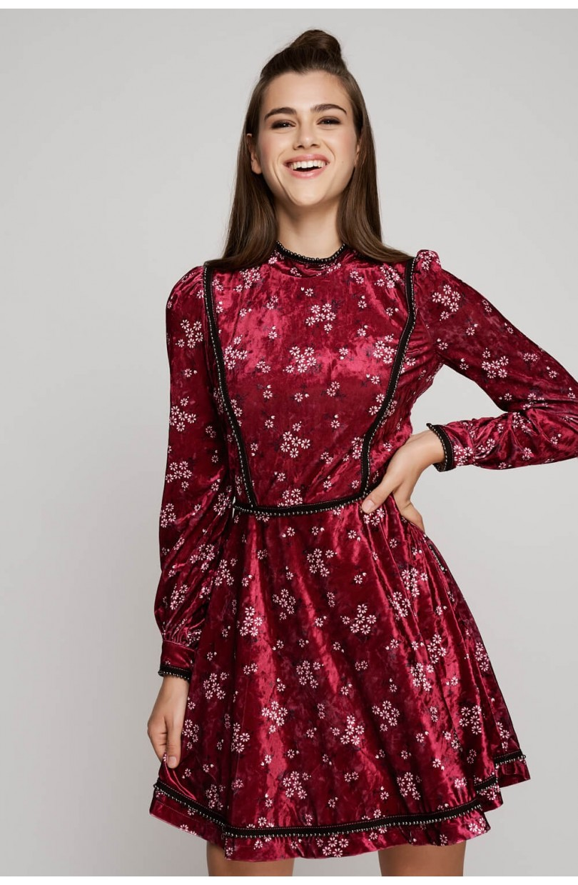 VESTIDO VELVET FLOR  - HIGHLY PREPPY